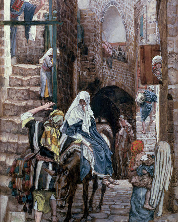 Joseph Poster featuring the painting Saint Joseph Seeks Lodging In Bethlehem by Tissot