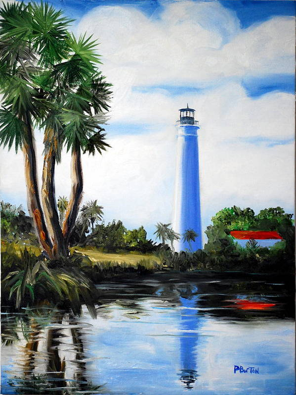 Light House Florida Saint Marks River Ocean Sea Palms Seacapes Poster featuring the painting Saint Marks River Light House by Phil Burton