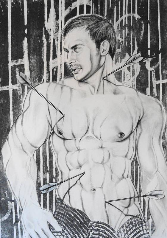 Gay Male Art Poster featuring the drawing Saint Sebastian 2 by Carmine Santaniello