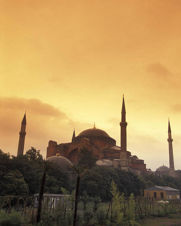 Istanbul Poster featuring the photograph Saint Sophia Hagia Sophia At Sunset by Richard Nowitz