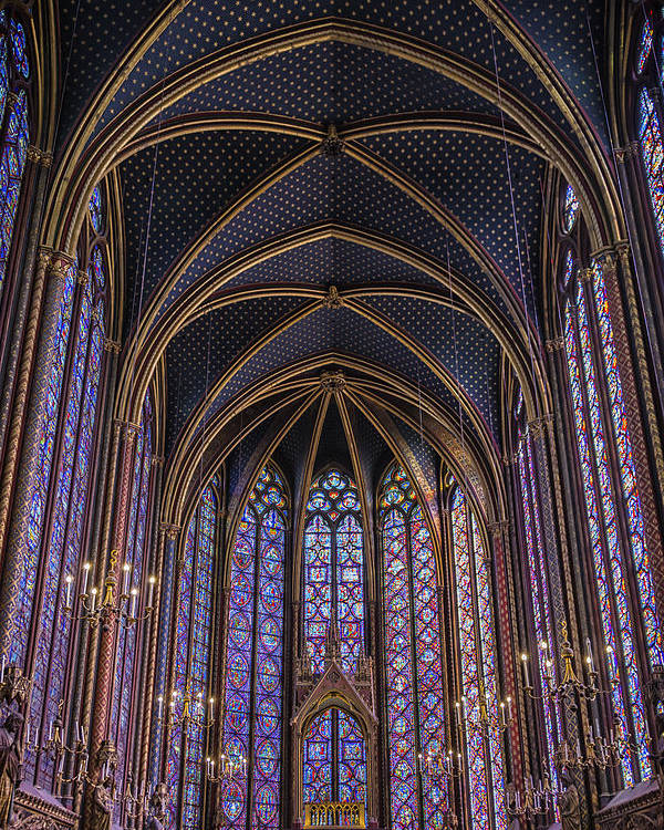 Joan Carroll Poster featuring the photograph Sainte Chapelle Stained Glass Paris by Joan Carroll