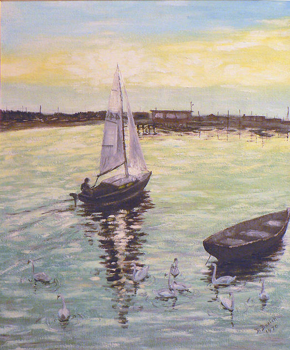 Sailboat Poster featuring the painting Saling Home At Sunset by Dan Bozich
