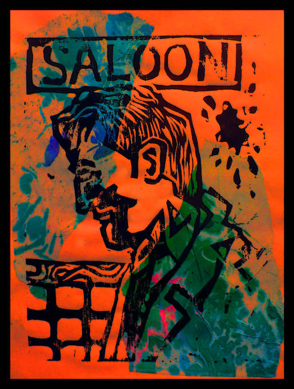 Lino Poster featuring the drawing Saloon by Adam Kissel
