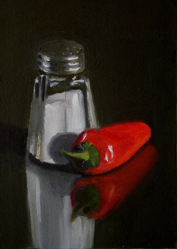 Still Life Poster featuring the painting Salt And Pepper by Becky Alden