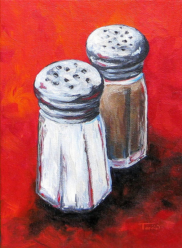 Red Poster featuring the painting Salt And Pepper On Red by Torrie Smiley
