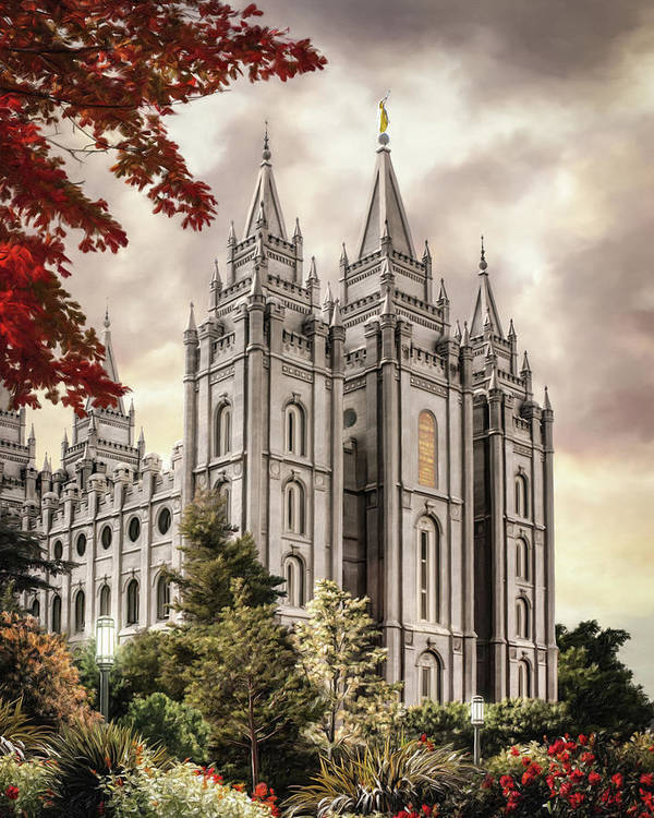 Salt Lake Poster featuring the painting Salt Lake Temple #8 by Brent Borup
