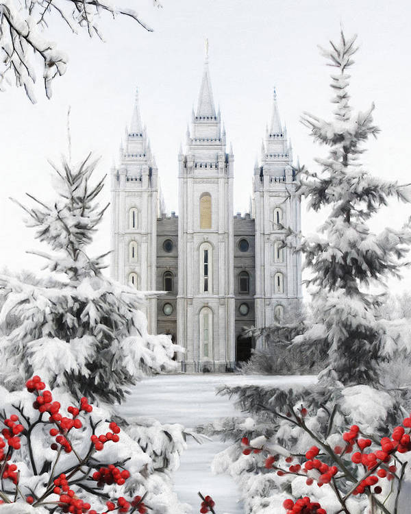 Salt Lake Poster featuring the painting Salt Lake Temple - Winter Wonderland by Brent Borup