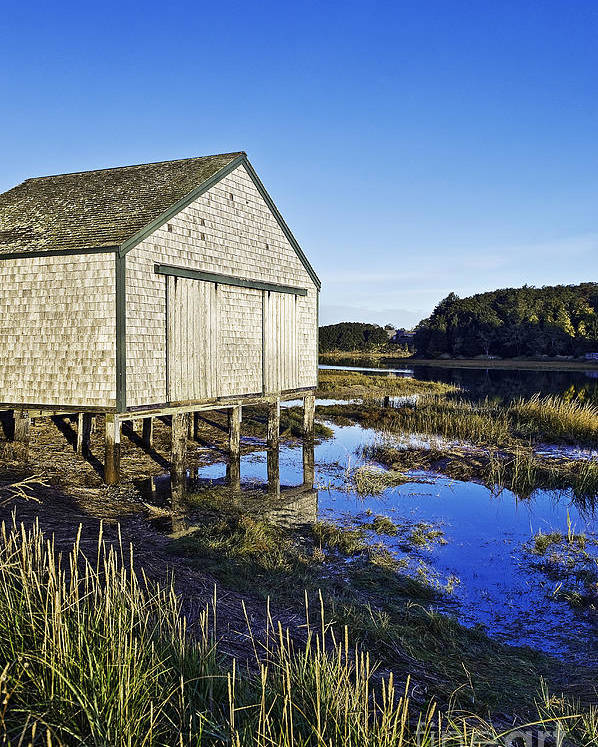 Cape Cod Poster featuring the photograph Salt Pond Boathouse by John Greim