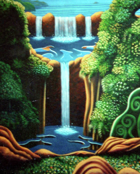 Waterfall Poster featuring the painting Saltwater Falls 3 by Barbara Stirrup