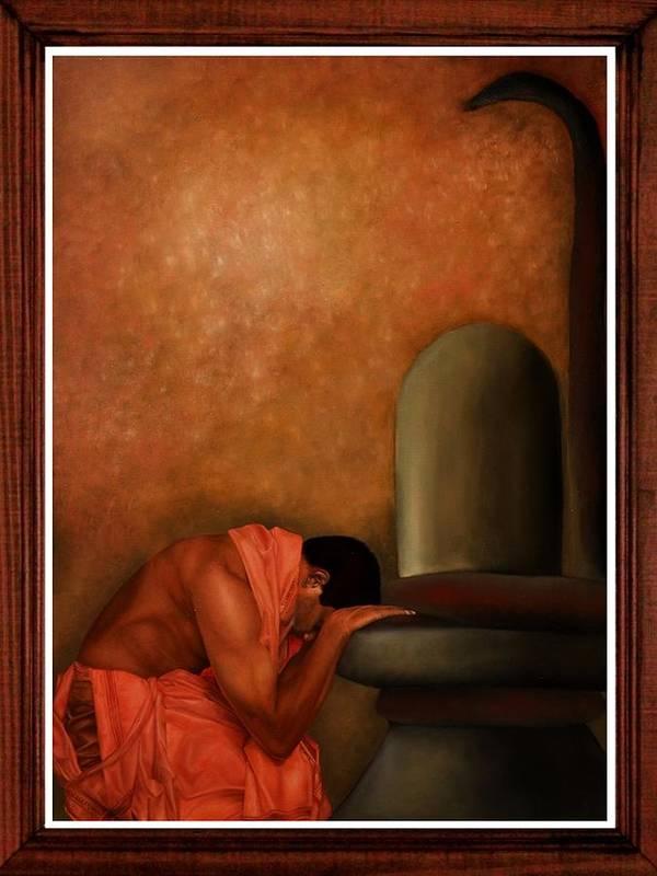 Devotion Poster featuring the painting Samarpan 2 by Deepak Deshmukh