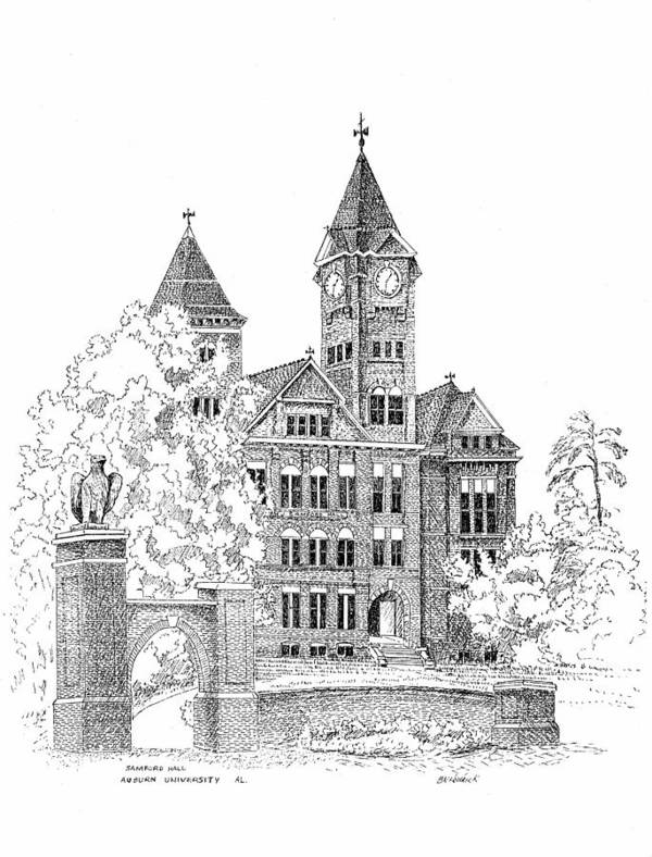 Samford Hall Poster featuring the drawing Samford Hall by Barney Hedrick