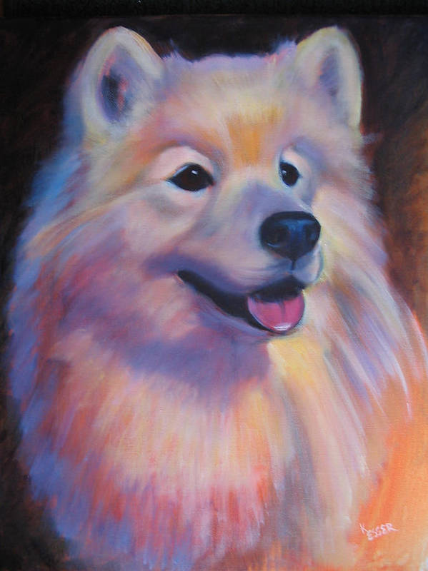 Samoyed Painting Poster featuring the painting Samoyed by Kaytee Esser