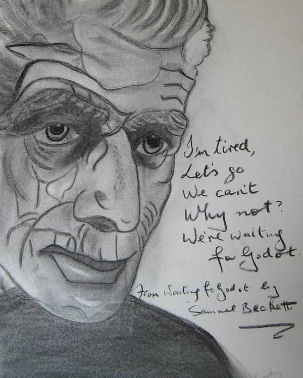 Irish Inretnational Playwrite Poster featuring the painting Samuel Beckett by Roger Cummiskey