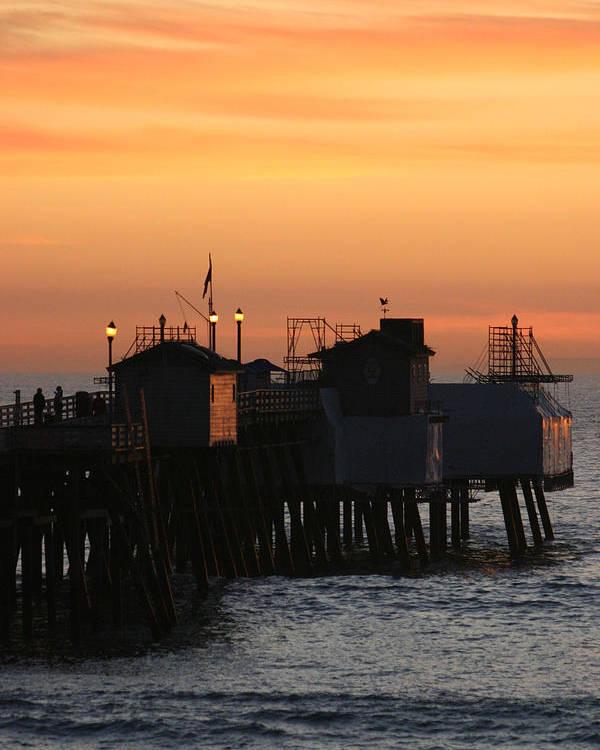 Sunset Poster featuring the photograph San Clemente Pier Sunset by Brad Scott