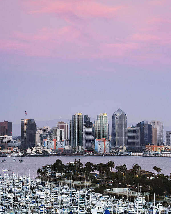 Architecture Poster featuring the photograph San Diego Skyline And Marina At Dusk by Jeremy Woodhouse