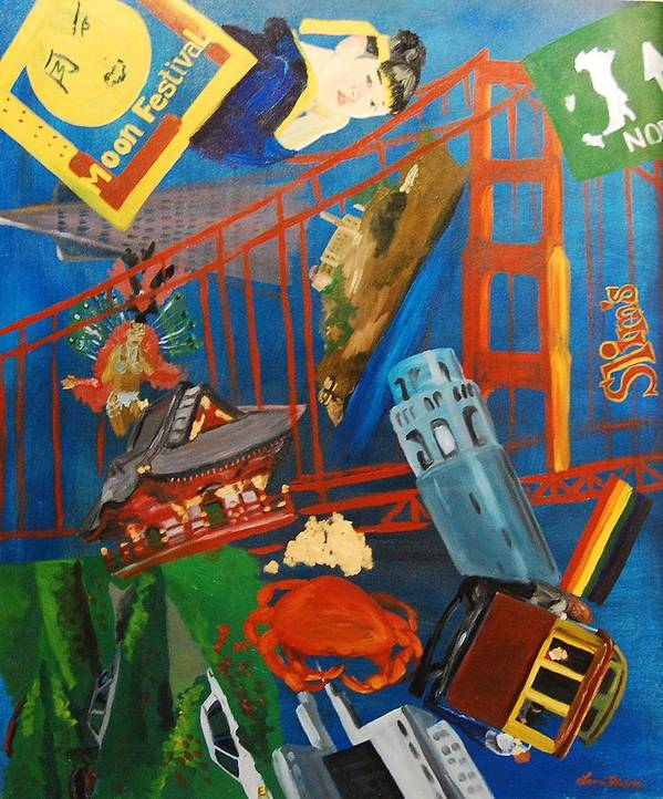 Golden Gate Bridge Poster featuring the painting San Fran by Lauren Luna