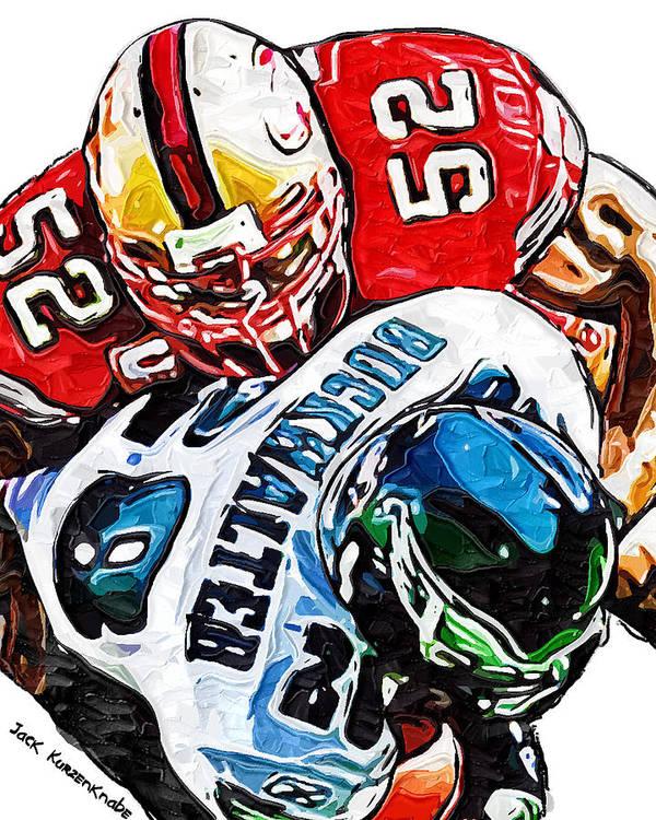San Francisco 49ers Poster featuring the digital art San Francisco 49ers Patrick Willis Philadelphia Eagles Correll Buckhalter by Jack K