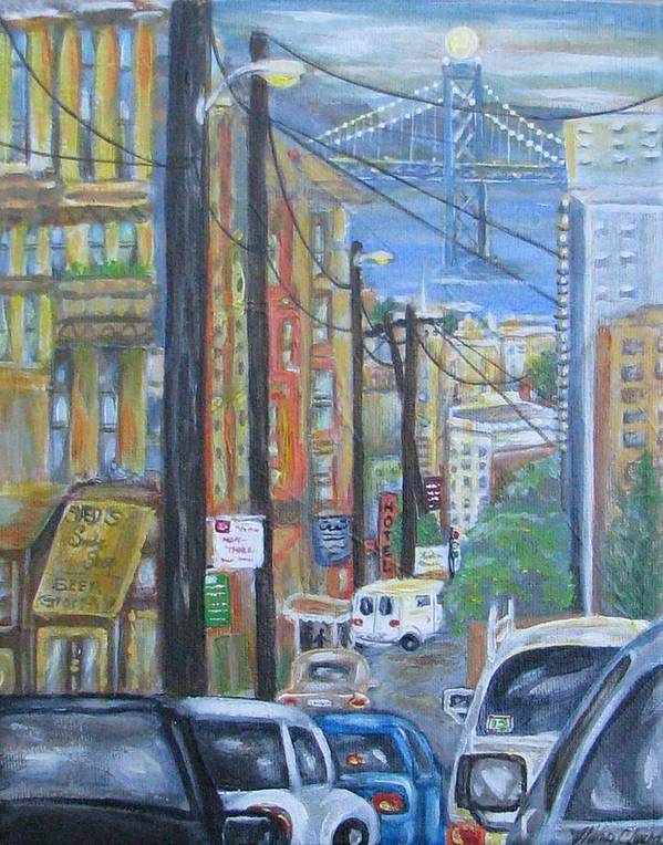 San Francisco Poster featuring the painting San Francisco Commute by Radha Flora Cloud