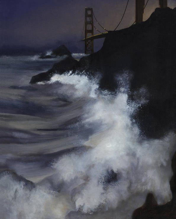Seascape Poster featuring the painting San Francisco Nocturne by Philippe Plouchart