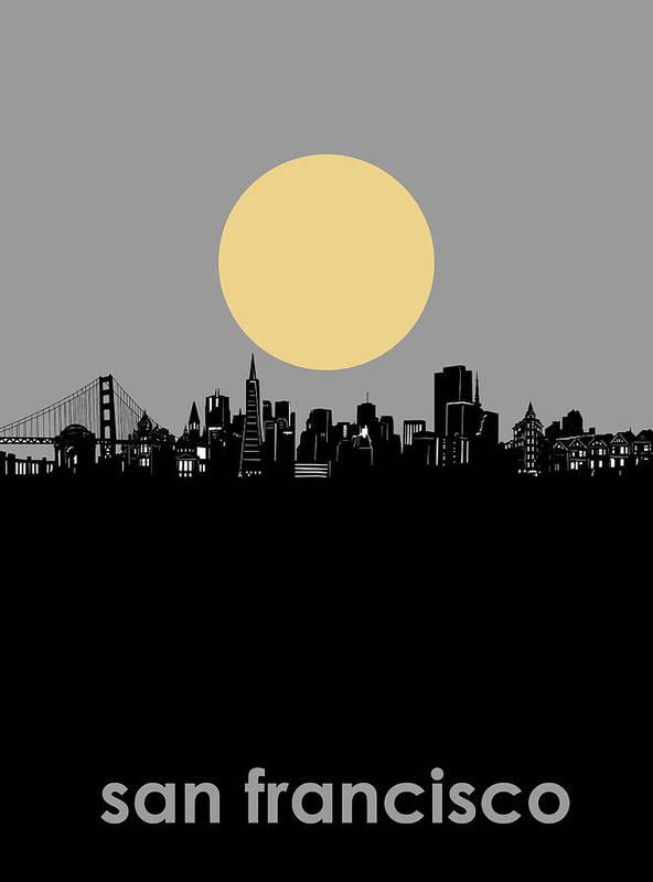 San Francisco Poster featuring the digital art San Francisco Skyline Minimalism by Bekim M