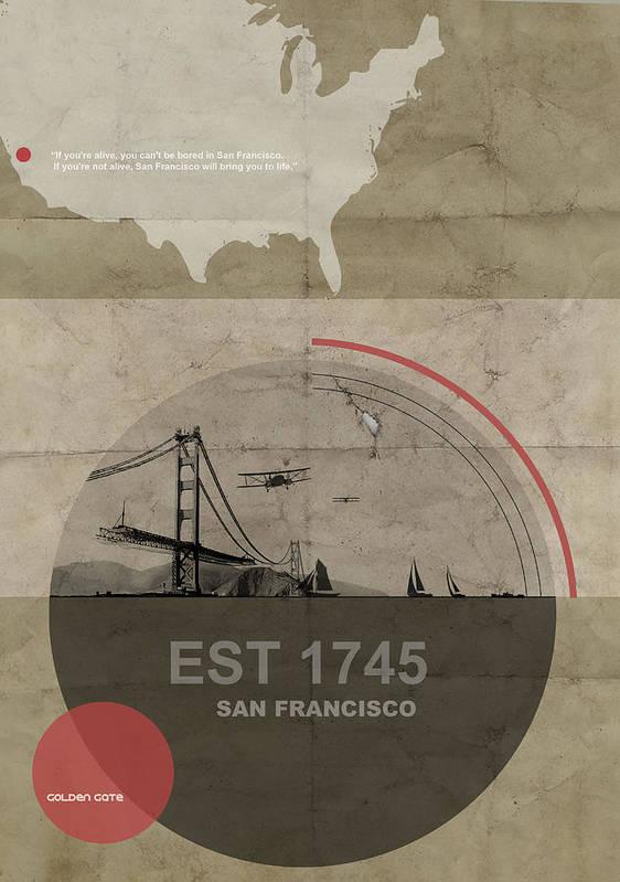 San Poster featuring the digital art San Fransisco by Naxart Studio