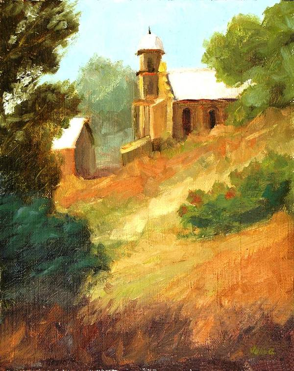 Sanctuaries New Mexico Poster featuring the painting Sanctuary At Lamy New Mexico by Julia Grundmeier