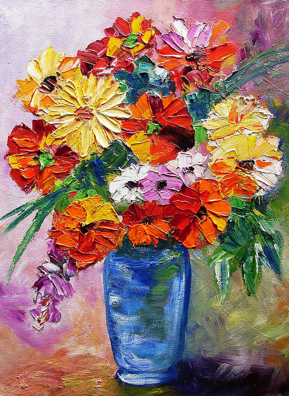 Flowers Poster featuring the painting Sandy's Flowers by Mary Jo Zorad
