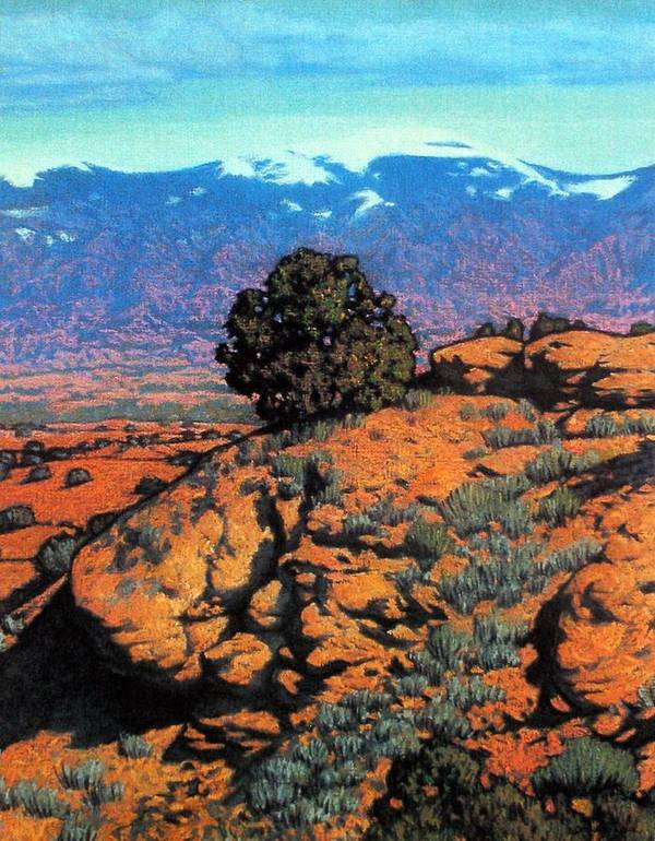 New Mexico Poster featuring the painting Sangre Dechristos by Kevin Lawrence Leveque