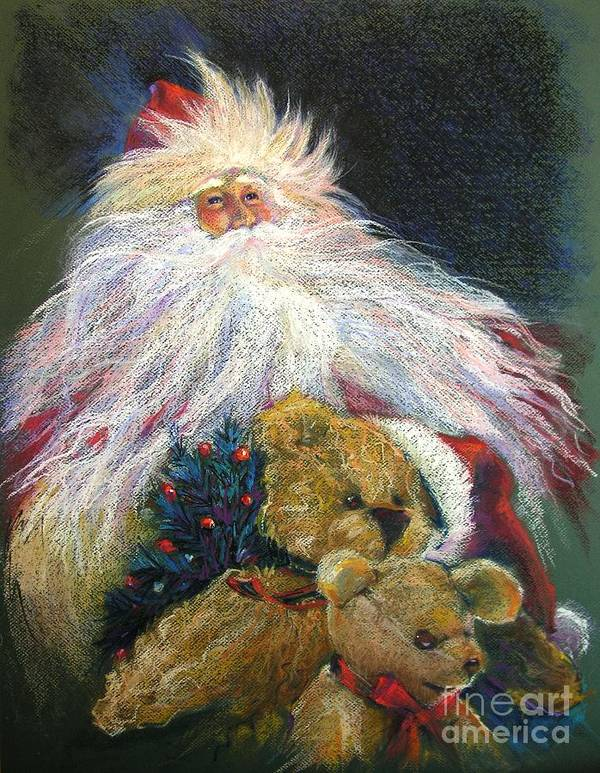 Santa Claus Poster featuring the painting Santa Claus Riding Up Front With The Big Guy by Shelley Schoenherr