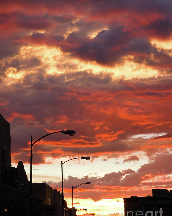 Cityscape Poster featuring the photograph Santa Fe At Dusk New Mexico by Julia Hiebaum