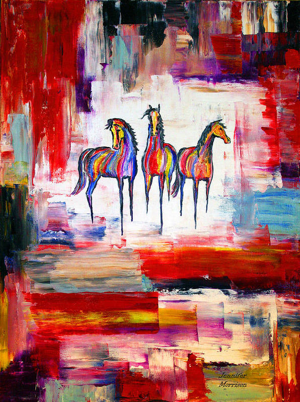 Abstract Horse Painting Poster featuring the painting Santa Fe Dreams Horses by Jennifer Morrison Godshalk