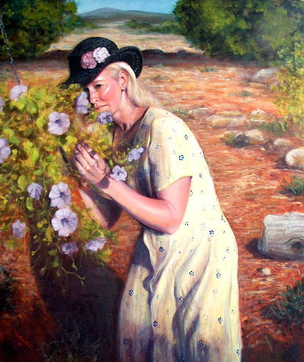 Realism Poster featuring the painting Santa Fe Garden 2  by Donelli DiMaria
