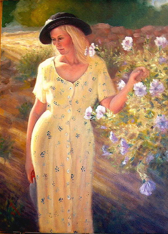 Realism Poster featuring the painting Santa Fe Garden 3  by Donelli DiMaria