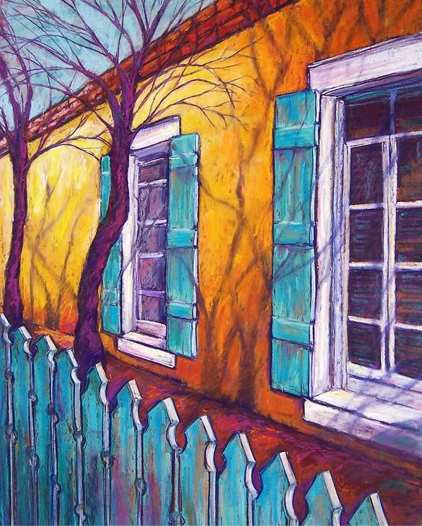 Landscape Poster featuring the pastel Santa Fe Shutters by Candy Mayer