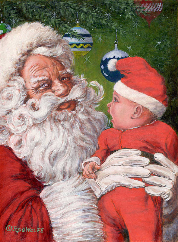 Santa Claus Poster featuring the painting Santas Little Helper by Richard De Wolfe