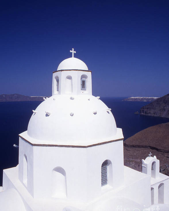 Cyclades Poster featuring the photograph Santorini Church by Steve Outram