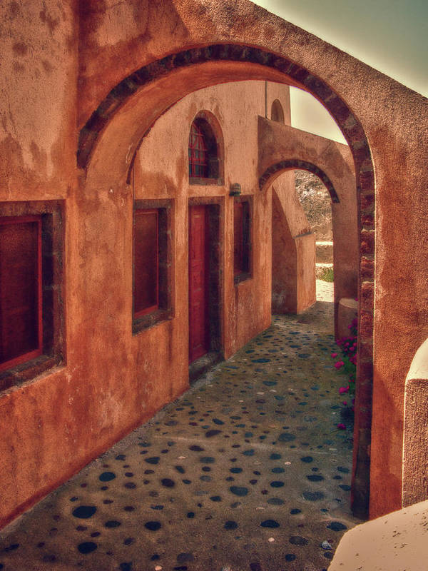 Hdr Poster featuring the photograph Santorini Courtyard by Sandra Bronstein