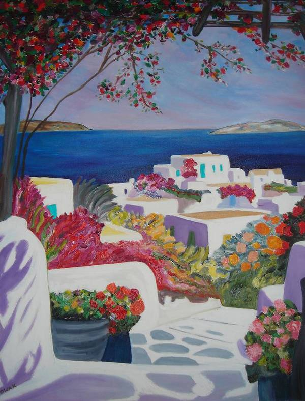 Greece Poster featuring the painting Santorini by Dorota Nowak