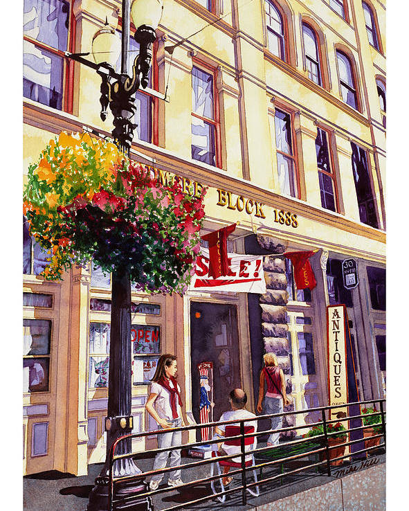 Shopping Old Town Street Scene Antique Portland Oregon Light Rail Building Girl Bald Man Sale Flower Poster featuring the painting Sara In Old Town by Mike Hill
