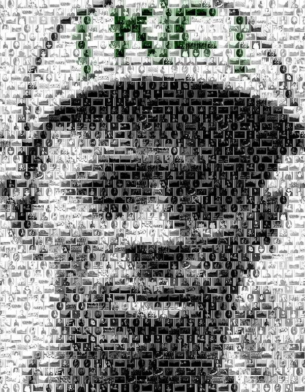 Negro Leagues Poster featuring the mixed media Satchel Paige Kc Monarchs African American Mosaic by Paul Van Scott