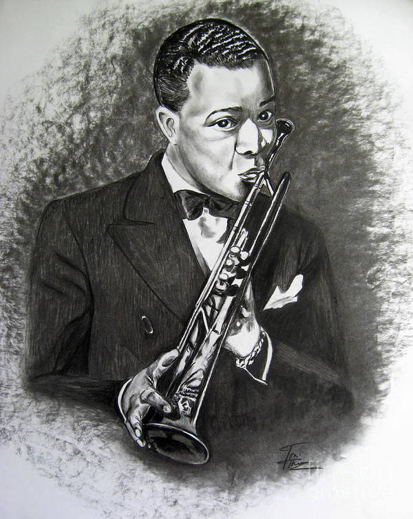 Louis Armstrong Painting Poster featuring the drawing Satchmo by Toni Thorne