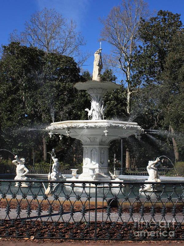 Savannah Poster featuring the photograph Savannah Square Fountain by Carol Groenen