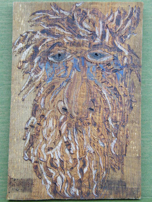 Woodburn Poster featuring the pyrography Save My Trees by Margaret G Calenda