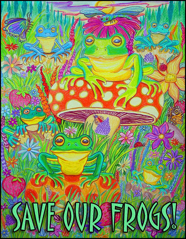 Frogs Poster featuring the drawing Save Our Frogs by Nick Gustafson