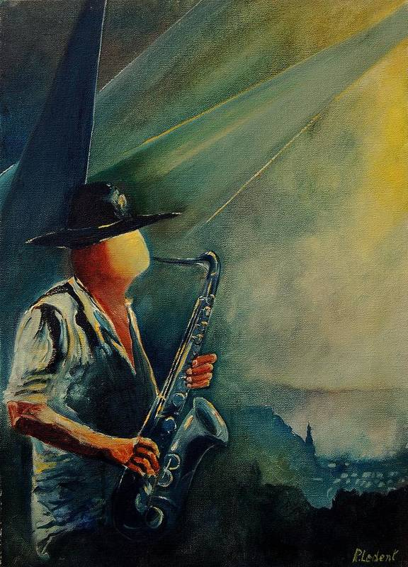 Music Poster featuring the painting Sax Player by Pol Ledent