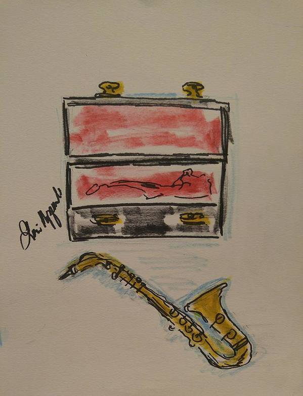 Saxophone Poster featuring the painting Saxophone by Geraldine Myszenski