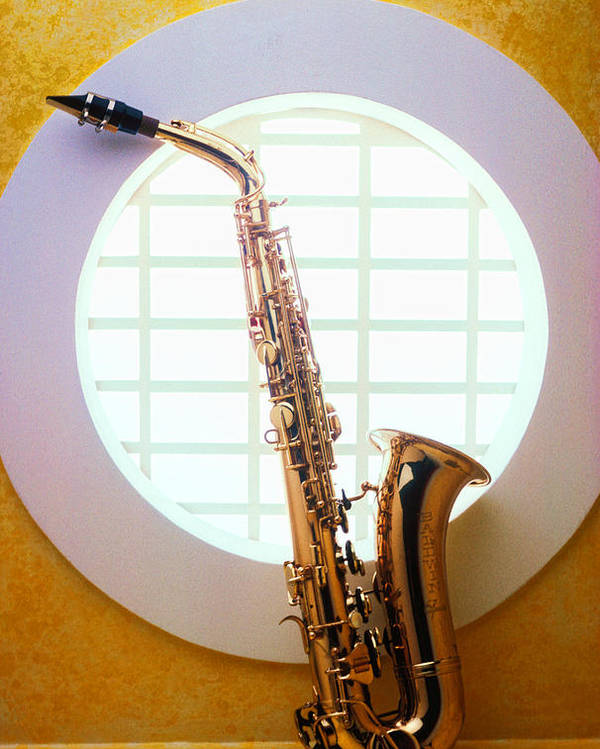Saxophone Poster featuring the photograph Saxophone In Round Window by Garry Gay