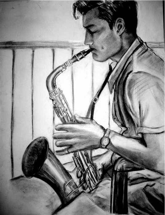 Handsome Man Poster featuring the drawing Saxophone Player by Laura Rispoli