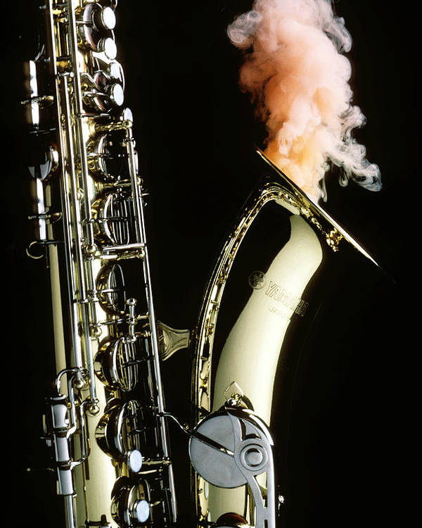 Saxophone Smoke Music Sound Poster featuring the photograph Saxophone With Smoke by Garry Gay