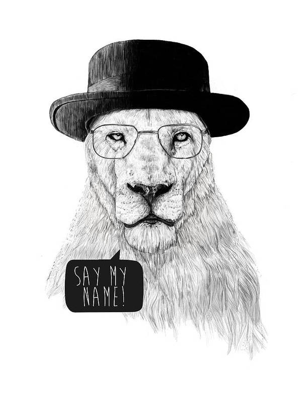 Lion Poster featuring the mixed media Say My Name by Balazs Solti